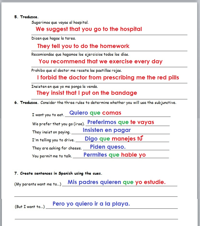 9 Print And Plete This Worksheet Page 2: Subjunctive Spanish Practice Worksheet At Alzheimers-prions.com